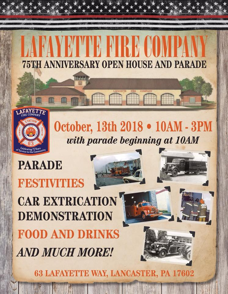 Lafayette Fire Company 75th Anniversary Celebration on October 13th, 2018