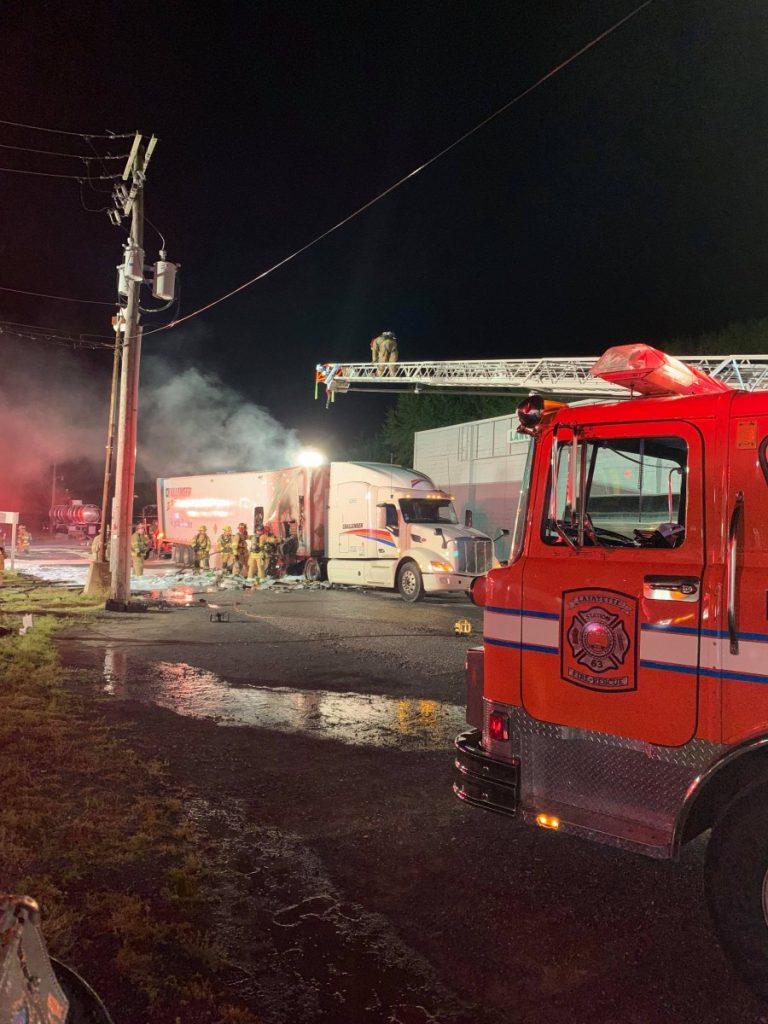 Foam Engine Runs Tractor Trailer Fire in Manheim Township