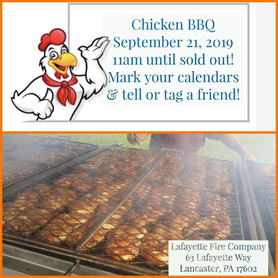 Fall Chicken BBQ is Saturday 9/21